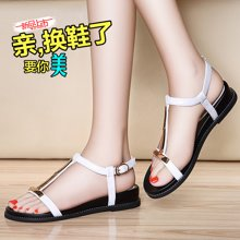 莱卡金顿 夏季新款女鞋子韩版学生平底百搭一字带夏天韩国中跟简约凉鞋 LK/6247