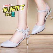 莱卡金顿 新款性感高跟凉鞋女夏季细跟高跟鞋女士时尚一字带夏天女鞋子 LK/6245