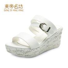 东帝名坊2018新款一字型厚底拖鞋女鞋增高百搭时尚扣带松糕凉鞋沙滩鞋 T68M117