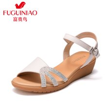 富贵鸟女鞋坡跟凉鞋女 时尚水钻厚底一字带凉鞋 N79E042C