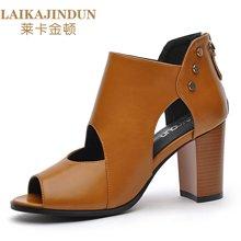 莱卡金顿 2017新款高跟鞋凉鞋女学生一字扣女鞋夏季厚底坡跟凉鞋 LK/6225-防水台