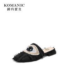 柯玛妮克 2018夏季新款珍珠饰低跟女鞋 牛仔花布凉拖包头粗跟拖鞋K82700