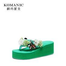 柯玛妮克 2018夏季新款拖鞋女夏外穿坡跟防水台女凉拖厚底人字拖K82000