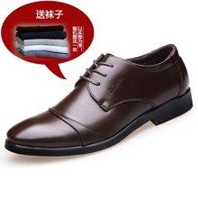 [买一赠一】古奇天伦男正装鞋2018新款男士商务皮鞋英伦系带鞋子6818