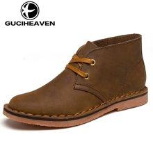 古奇天伦2018新款男短靴沙漠靴工装鞋牛皮英伦男士皮靴高帮鞋 GH807