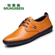 牧惠森新款软皮圆头系带男鞋英伦复古时尚舒适商务休闲男鞋 HM3500