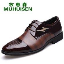 牧惠森新品男士头层牛皮系带皮鞋时尚拼接金属装饰商务正装男鞋 HD2222