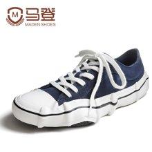 马登男鞋潮鞋港风板鞋手工硫化帆布鞋个性胶鞋反绒皮鞋子 1703049