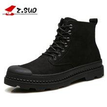 Z.Suo/走索男鞋马丁靴男靴子加绒保暖高帮皮靴男士工装靴潮流军靴雪地短靴 ZS18123