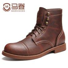 马登新款马丁靴男靴子男士皮靴短靴英伦高帮鞋工装靴男鞋 MD1607134