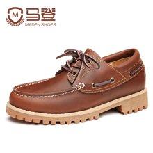 马登新款鞋子男士休闲皮鞋英伦百搭帆船鞋韩版潮流复古男鞋潮 1612147