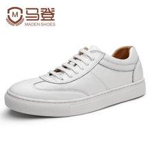 马登小白鞋男鞋子韩版潮流百搭英伦男士休闲鞋皮鞋男板鞋韩版潮流 1612157
