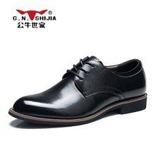 公牛世家男鞋透气男士商务正装皮鞋男英伦尖头系带潮鞋子 888168