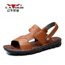 公牛世家凉鞋舒适男士头层牛皮时尚两穿手工皮凉鞋 888401