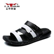 公牛世家男鞋夏季拖鞋凉拖休闲凉鞋防滑一字拖男士沙滩鞋 888398