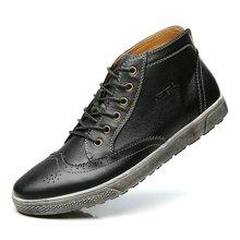 公牛世家布洛克雕花男鞋英伦复古高帮板鞋男士休闲皮鞋潮流鞋子 888238