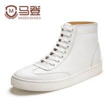 马登高帮板鞋男新款韩版百搭系带圆头单靴子男潮透气小白鞋男皮鞋子 1703019