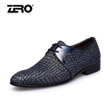 零度尚品男鞋头层羊皮正装皮鞋时尚商务男鞋尖头系带男士婚鞋F8957