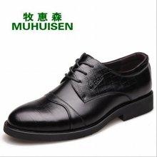 牧惠森新款头层牛皮男士系带皮鞋擦色拼接亮面商务正装休闲男鞋 M0603