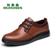 牧惠森新款男士拼色系带皮鞋韩版时尚英伦风商务休闲男鞋 2802