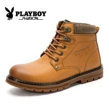 花花公子冬季男棉鞋加厚加绒保暖高帮大头鞋棉皮鞋英伦工装鞋CX39125M