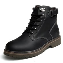 OKKO马丁靴男士短靴皮靴子男鞋英伦军靴工装高帮雪地秋冬保暖x0907