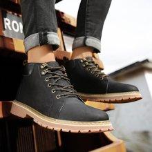 OKKO男鞋马丁靴男短靴英伦高帮男靴子加绒休闲鞋复古雪地靴xD60