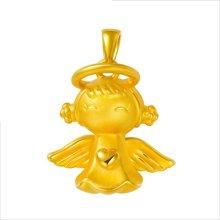 金世通3D硬金 精美天使宝宝快乐天使吊坠 免工费  约2.90克