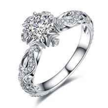 佐卡伊白18k金钻戒钻石戒指女款结婚求婚戒指正品珠宝 初雪系列