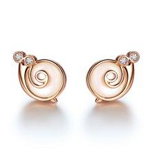 佐卡伊 蜗牛小姐钻石耳钉玫瑰18k钻石耳饰女款时尚个性正品耳钉