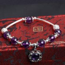 盈满堂 秘密花园-天然紫水晶925银单圈手链