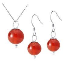 衡润 红玛瑙首饰套装水玲珑项链耳环 T01014
