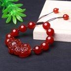 盈满堂 天然红玛瑙貔貅男士手链