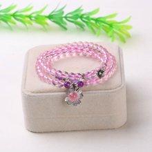 盈满堂 冰种天然粉水晶配紫水晶3圈手链