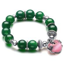 石玥珠宝 S925银祖母绿玛瑙手链 SY01101