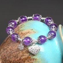 盈满堂 原创设计天然紫水晶配925手工银单圈手链-心花放