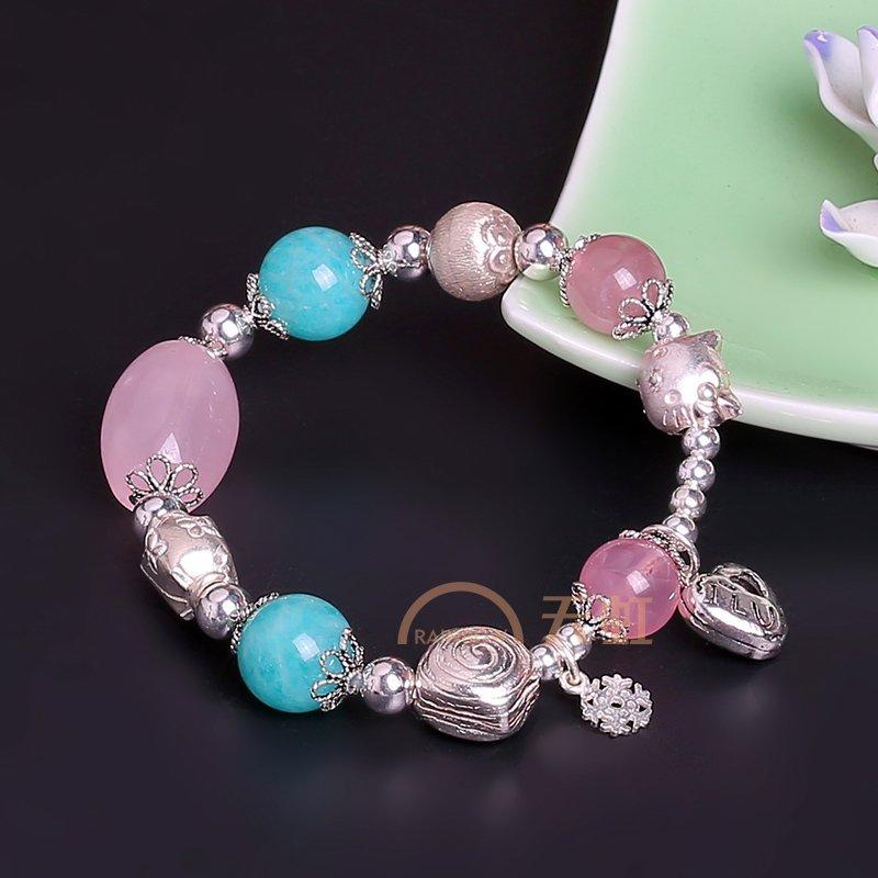 盈满堂 原创设计时尚925手工银配天然粉水晶手链-蓝粉