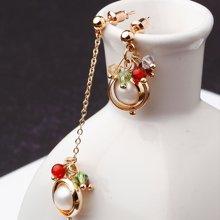 盈满堂 微光时尚天然珍珠长短耳环