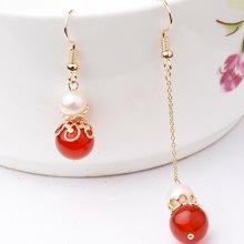 盈满堂 华韵天然珍珠红玛瑙长短耳环