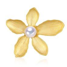 金兴福 五叶花 9.5-10mm优美时尚珍珠胸针