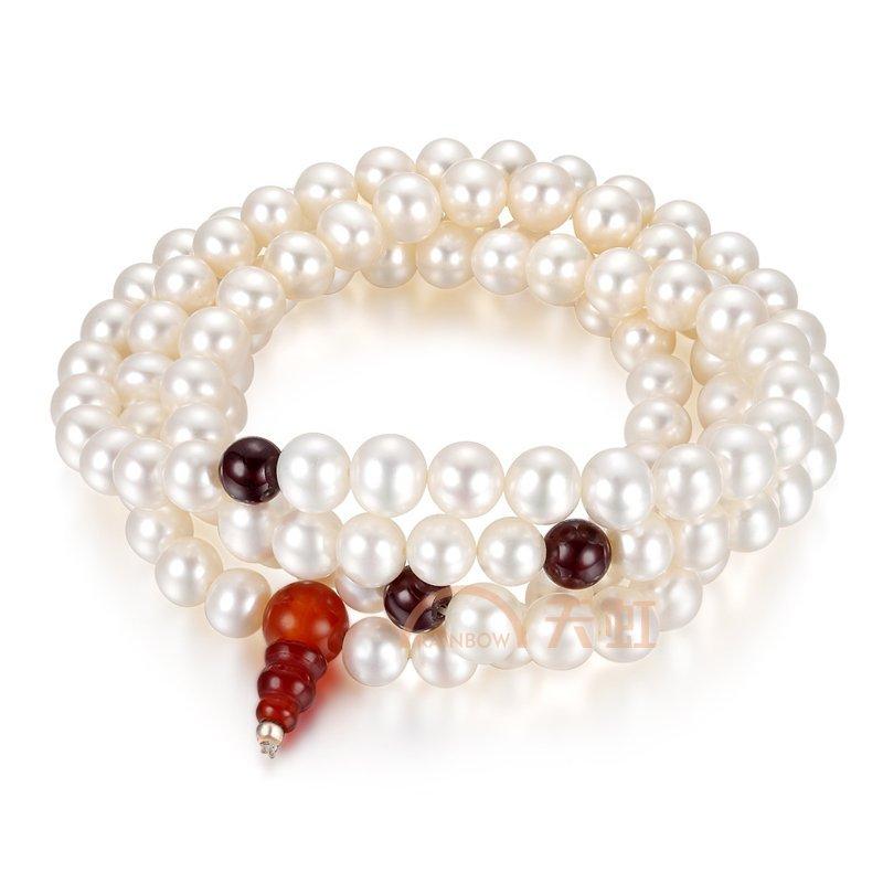 石榴石搭配珍珠