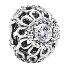 PANDORA 潘多拉 925银银色镂空闪耀花朵串珠791260CZ(1)