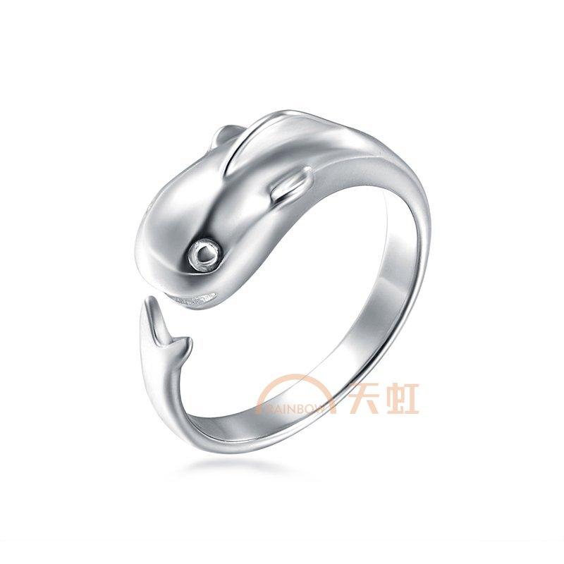 妍韵珠宝 s925戒指可爱 海豚-银色-可调