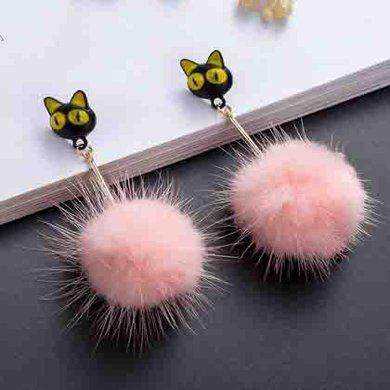 简约可爱猫咪貂毛毛球耳钉-粉色-均码