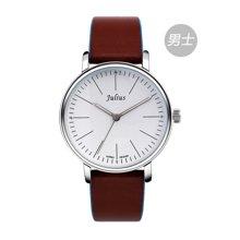 聚利时情人节礼物时尚圆形情侣对表夜光防水皮带手表石英表男JA-814M