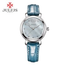 聚利时手表简约正品贝壳面新品水钻简约皮带女表防水石英表JA-945