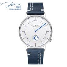 唯路时(JONAS&VERUS)新款男士石英表极简进口真皮蓝色表带手表Y02065-Q3