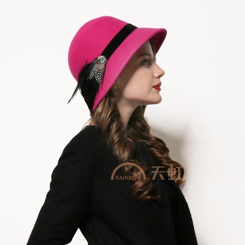 feelingcool飞兰蔻 英伦毛呢帽子女冬季帽子女士呢帽子盆帽渔夫帽圆顶