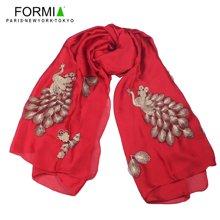 Formia芳美亚围巾新款时尚刺绣孔雀印花围巾SL6930904