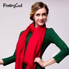 飞兰蔻围巾女纯色披肩围巾两用黑色围巾红色 商场同款